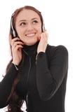 Adolescente sonriente del retrato con los auriculares Fotografía de archivo libre de regalías