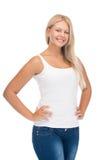 Adolescente sonriente en camiseta blanca en blanco Fotos de archivo libres de regalías
