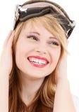 Adolescente sonriente en gafas de la snowboard Imágenes de archivo libres de regalías