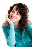 Adolescente sonriente en la turquesa, sonriendo Imagenes de archivo