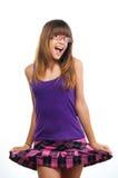 Adolescente sonriente hermoso con las gafas de sol Fotos de archivo