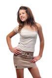 Adolescente sonriente lindo en falda y blusa Imagenes de archivo