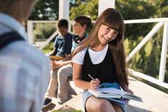 Adolescente sonriente que estudia con los libros Imagen de archivo
