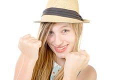 Adolescente sonriente que muestra los puños Fotografía de archivo libre de regalías