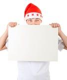 Adolescente sorprendido con el tablero blanco Imagen de archivo