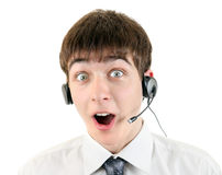 Adolescente sorprendido con las auriculares Foto de archivo