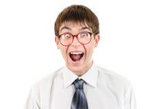 Adolescente sorprendido en el blanco Imagen de archivo