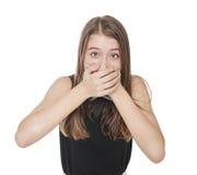 Adolescente spaventato giovani che copre la sua bocca di mano Fotografia Stock