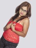 Adolescente srilanqués superior rojo Imagen de archivo