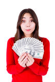 Adolescente surpreendido com dinheiro Foto de Stock Royalty Free