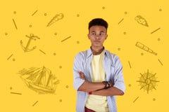 Adolescente tranquilo que frunce el ceño y que piensa en hacer un marinero Fotografía de archivo libre de regalías