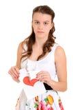 Adolescente triste el día de tarjetas del día de San Valentín Fotografía de archivo libre de regalías