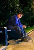 Adolescente triste en la noche Fotografía de archivo libre de regalías