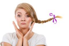 Adolescente triste en pelo windblown de la trenza Imagen de archivo libre de regalías
