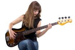 Adolescente triste que juega en la guitarra Fotografía de archivo