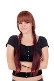 Adolescente vestido en negro con una perforación Foto de archivo libre de regalías