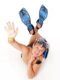 Adolescente vestito in accessori di immersione subacquea immagini stock libere da diritti