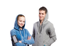 Adolescente y muchacha en camisetas Tiro del estudio, aislado Foto de archivo