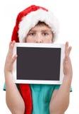 Adolescente y tableta en blanco Fotografía de archivo