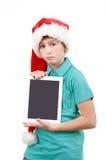 Adolescente y tableta en blanco Foto de archivo libre de regalías