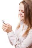Adolescente y teléfono Fotografía de archivo libre de regalías