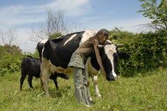 Adolescente y vaca Foto de archivo