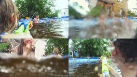 Adolescentes alegres de los amigos que se divierten en el collage de la piscina al aire libre - almacen de metraje de vídeo