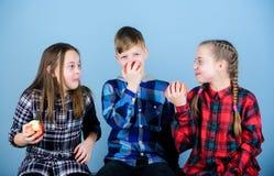 Adolescentes alegres do grupo que t?m o divertimento e que comem ma??s Nutri??o saud?vel da dieta e da vitamina O menino e os ami foto de stock