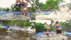 Adolescentes alegres que se divierten en la piscina - collage almacen de metraje de vídeo