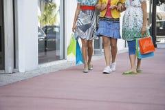 Adolescentes avec des paniers marchant sur le trottoir Photos libres de droits
