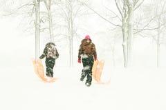 Adolescentes com os trenós na floresta foto de stock