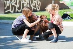Adolescentes con un perrito Fotos de archivo