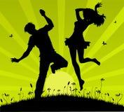 Adolescentes de salto ilustração stock