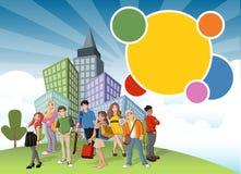 Adolescentes dos desenhos animados no parque verde na cidade Imagens de Stock Royalty Free