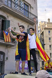 Adolescentes en el día nacional de Cataluña Foto de archivo libre de regalías