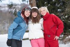 Adolescentes en el paisaje Nevado Imagen de archivo