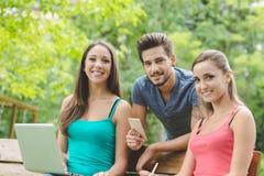 Adolescentes en el parque que estudian junto Fotografía de archivo