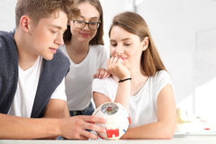 Adolescentes en la lección de la biología Imagen de archivo libre de regalías