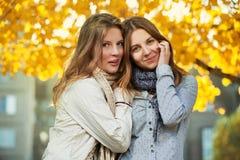 Adolescentes en stationnement d'automne Image stock