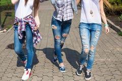Adolescentes felices jovenes del inconformista que se divierten en parque del verano Fotos de archivo