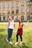 Adolescentes felices jovenes del inconformista que se divierten en parque del verano Imagen de archivo libre de regalías
