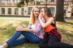 Adolescentes felices jovenes del inconformista que se divierten en parque del verano Foto de archivo
