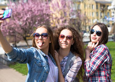 Adolescentes felices jovenes que hacen el selfie y que se divierten en parque del verano Fotos de archivo libres de regalías