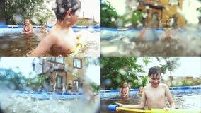 Adolescentes felices que nadan en la piscina - collage almacen de metraje de vídeo