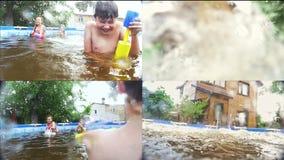 Adolescentes felices que se divierten en la piscina - collage metrajes