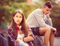 Adolescentes frustrados después de la pelea Imagen de archivo libre de regalías