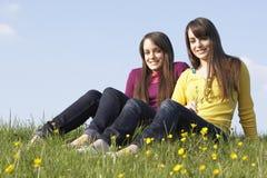 Adolescentes gemelos que se sientan en prado del verano Imagenes de archivo
