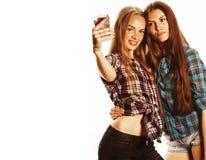 Adolescentes lindos que hacen el selfie aislado Foto de archivo libre de regalías