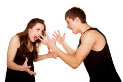 Adolescentes menino e menina que discutem, gesticulating e shouting Fotografia de Stock Royalty Free