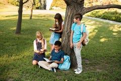 Adolescentes multiétnicos que estudian en parque Foto de archivo libre de regalías